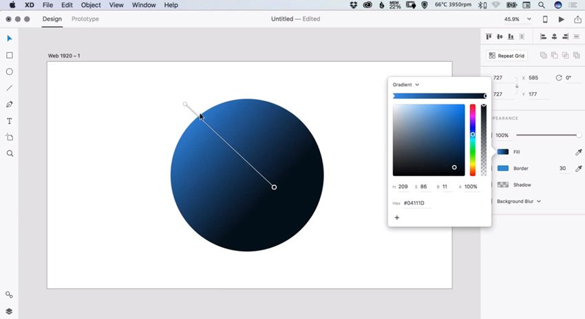 creating a gradient with Adobe XD