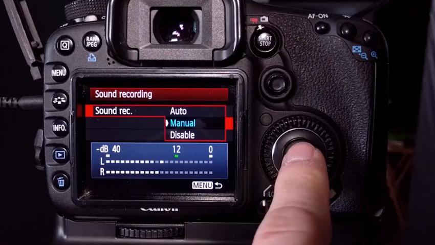 Audio recording on a video camera