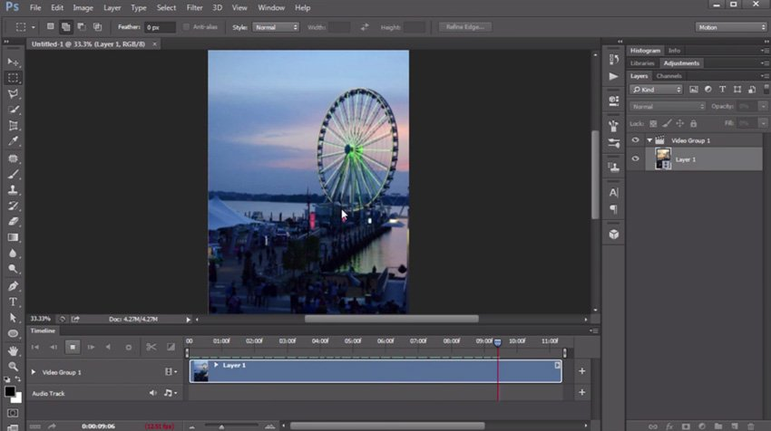 Importing images to a video in Photoshop