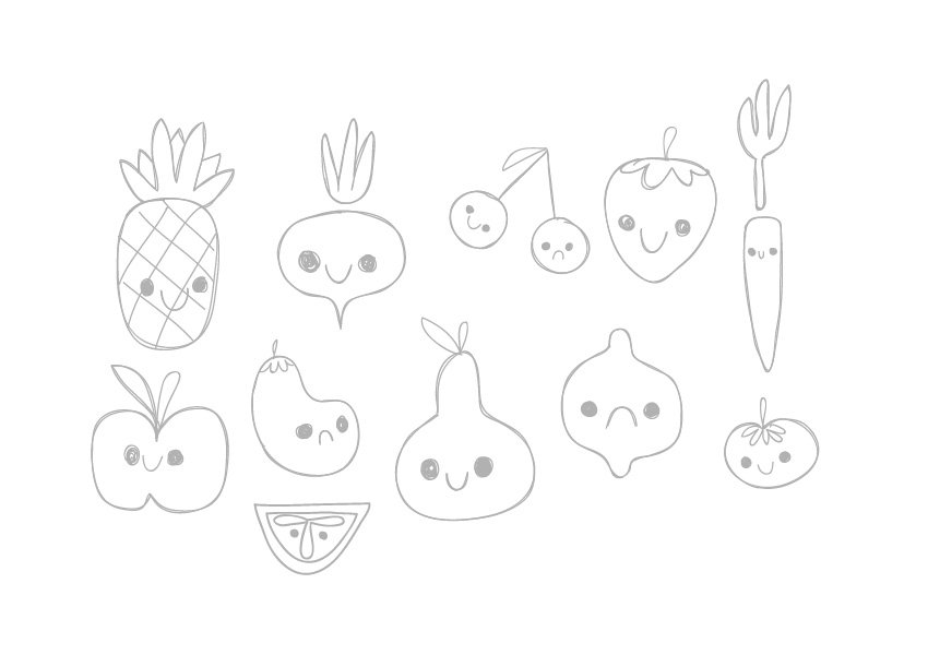 Sketch of 11 types of fruit