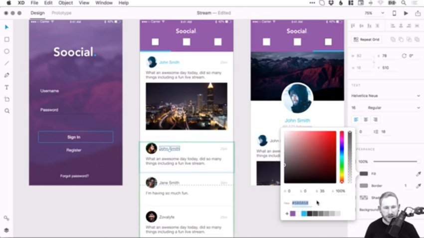 Screenshot from the Adobe XD prototyping course