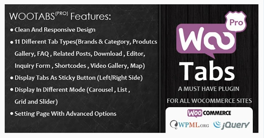 WooCommerce Tabs Pro Extra Tabs for Product Page