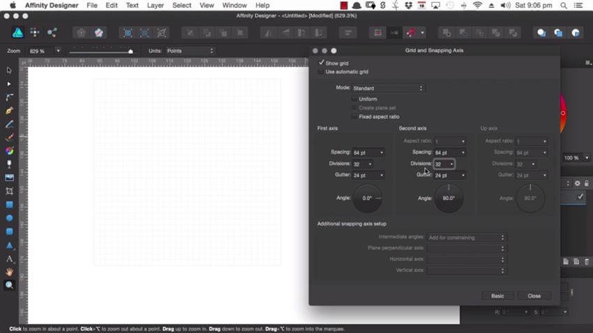 Grid divisions in Affinity Designer
