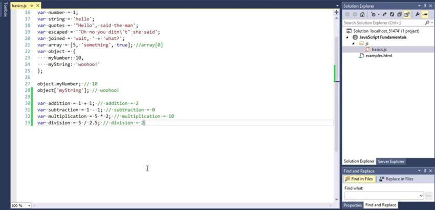 JavaScript operators example