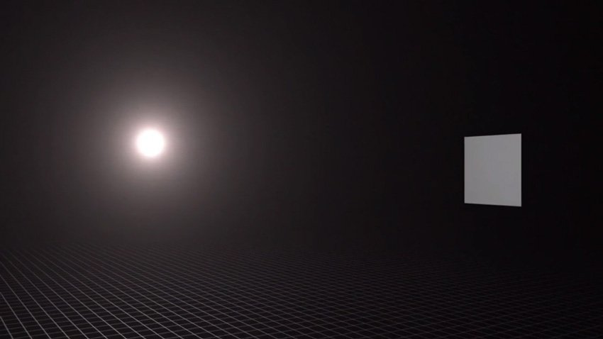 Illustration of brightness dropping off as light source moves away