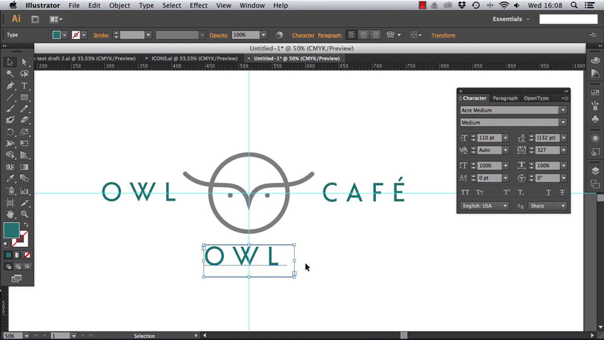 designing the typography for a logo in Adobe Illustrator