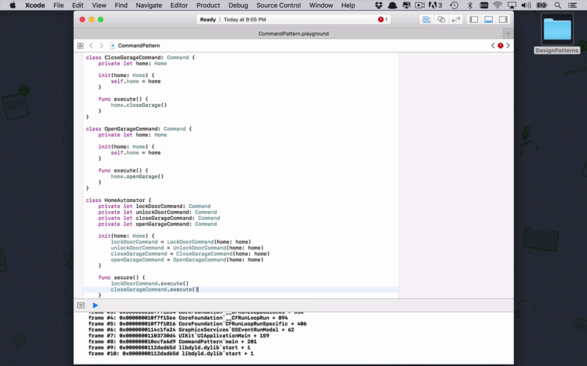 Screenshot from the Swift Design Patterns course