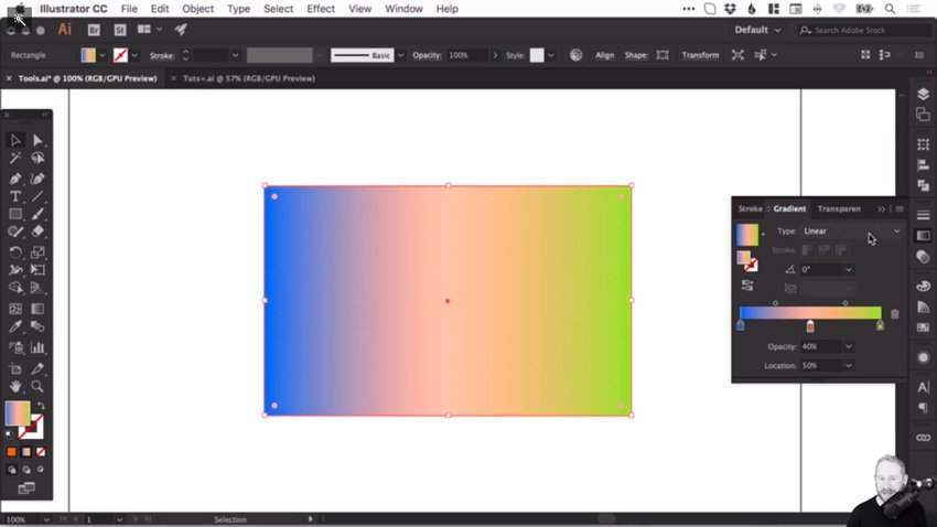 Changing gradient opacity