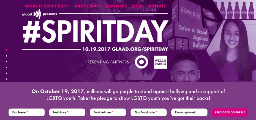 Screenshot from Spirit Day website