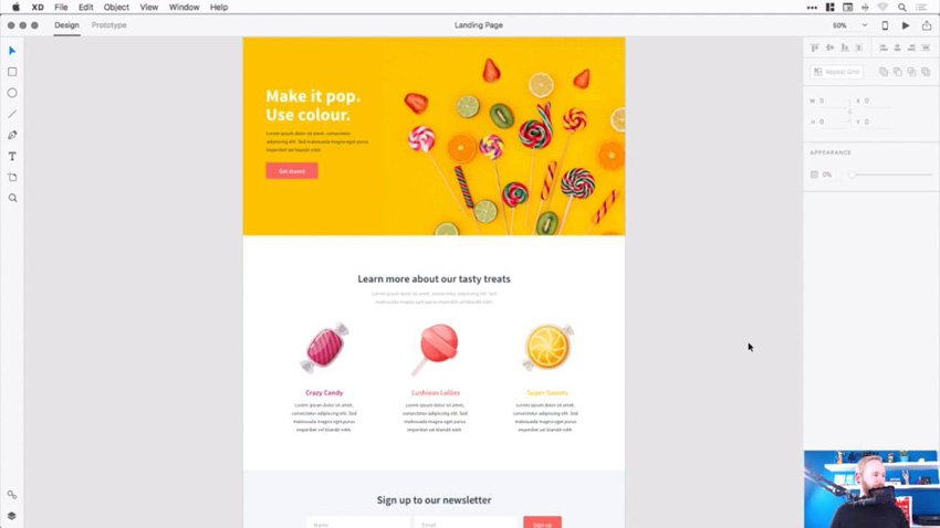 Screenshot from Landing Page Design With Adobe XD