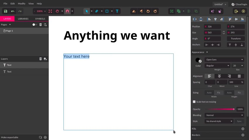 Click and drag to create a text box