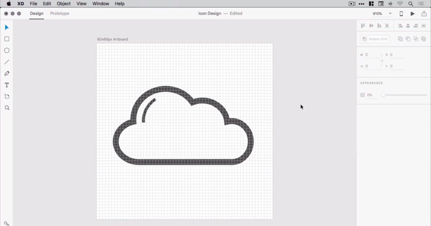 Cloud with detail line added