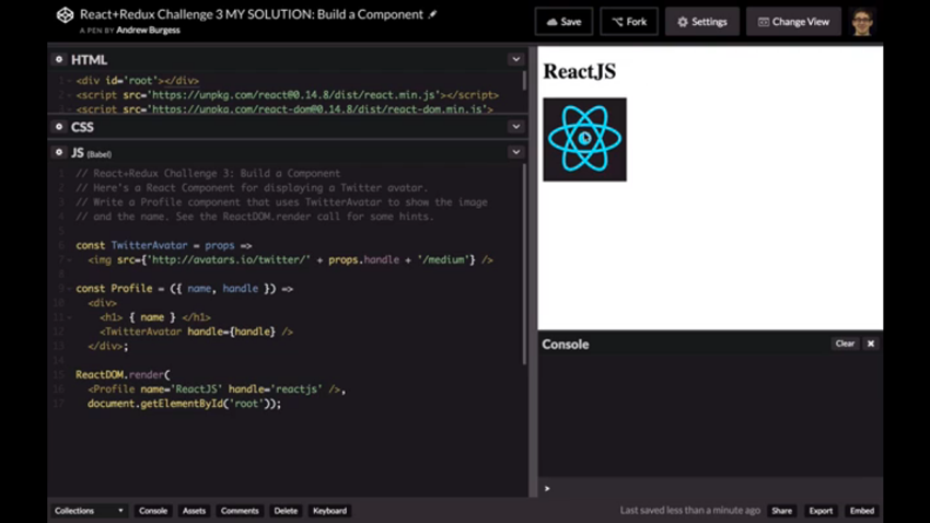 CodePen solution showing ReactJS and its Twitter avatar