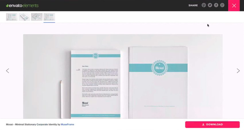 Stationery available on Envato Elements