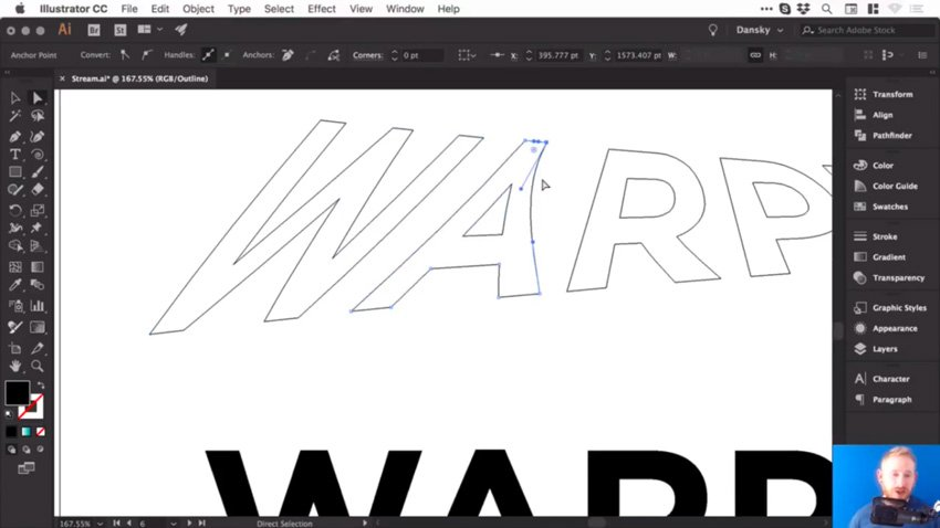 Adjusting anchor points of warp text