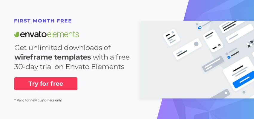 Free wireframe templates on Envato Elements
