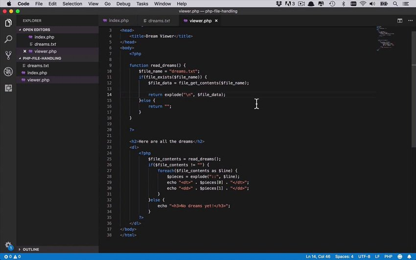 core file handling functions in PHP