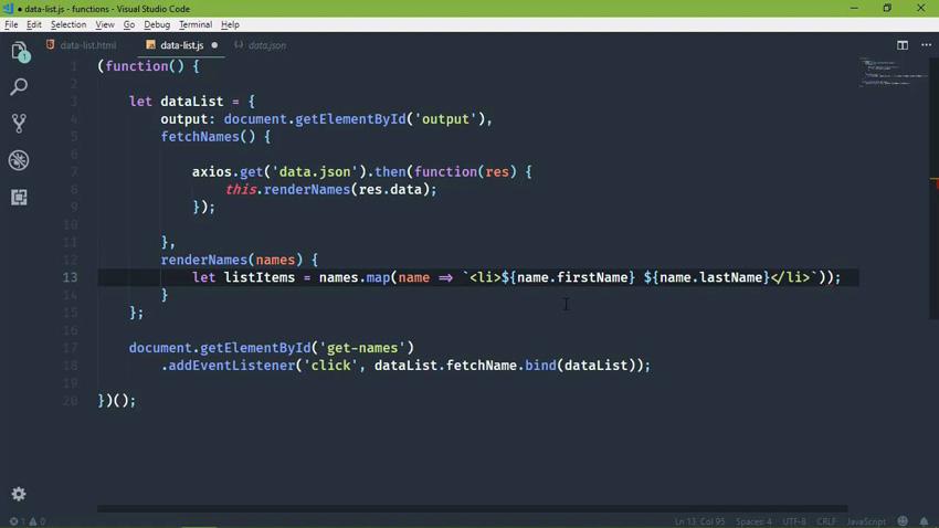 Example of JavaScript arrow functions