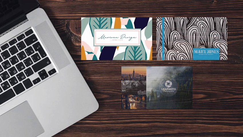 3 business card designs in Photoshop