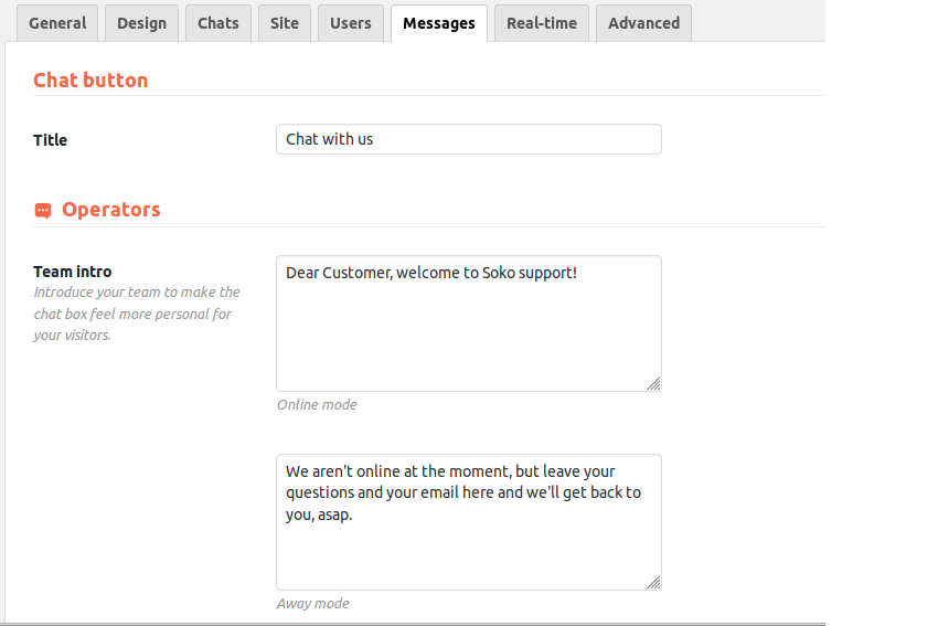 Live chat automated messages configuration