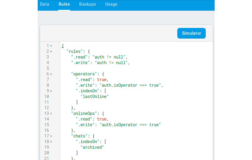 Edit the security rules for live chat in Firebase