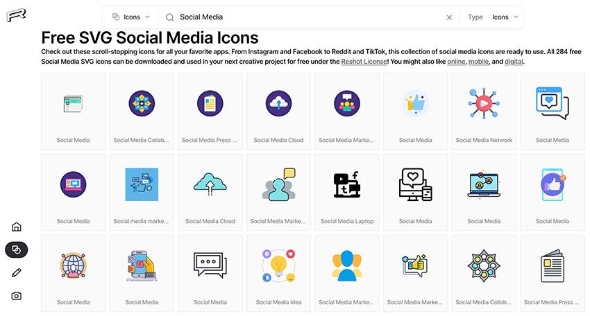 Free social media icons on Reshot