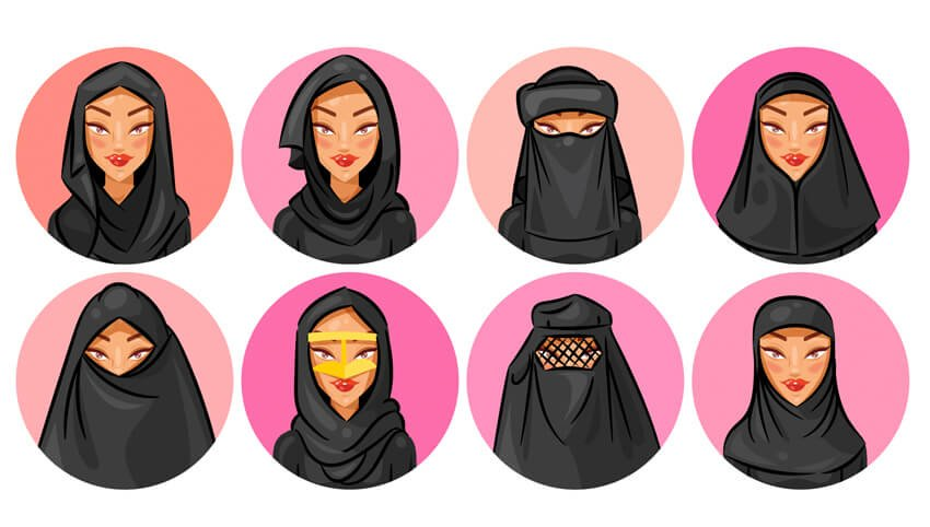 Set of 8 Veil and Hijab Illustrations