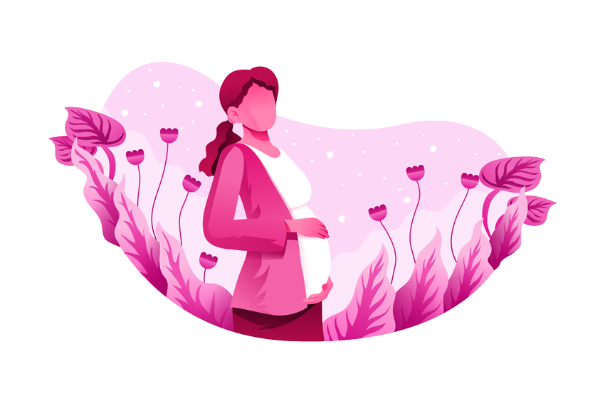 Stylized Portrait Illustration of a Pregnant Woman