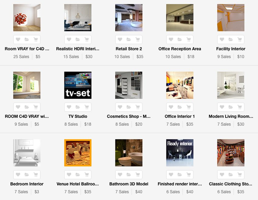 3D interior models available on Envato Market