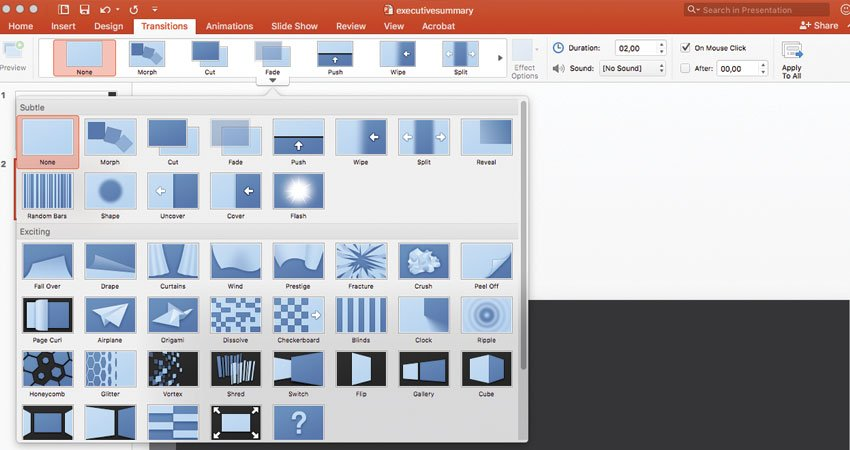 PowerPoint animation options