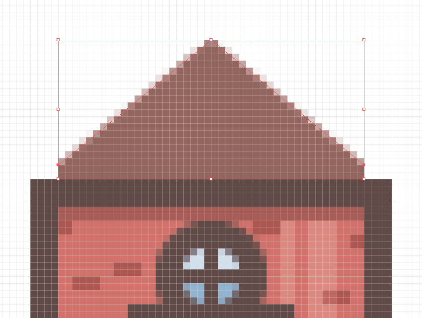 creating the roof section using the pen tool
