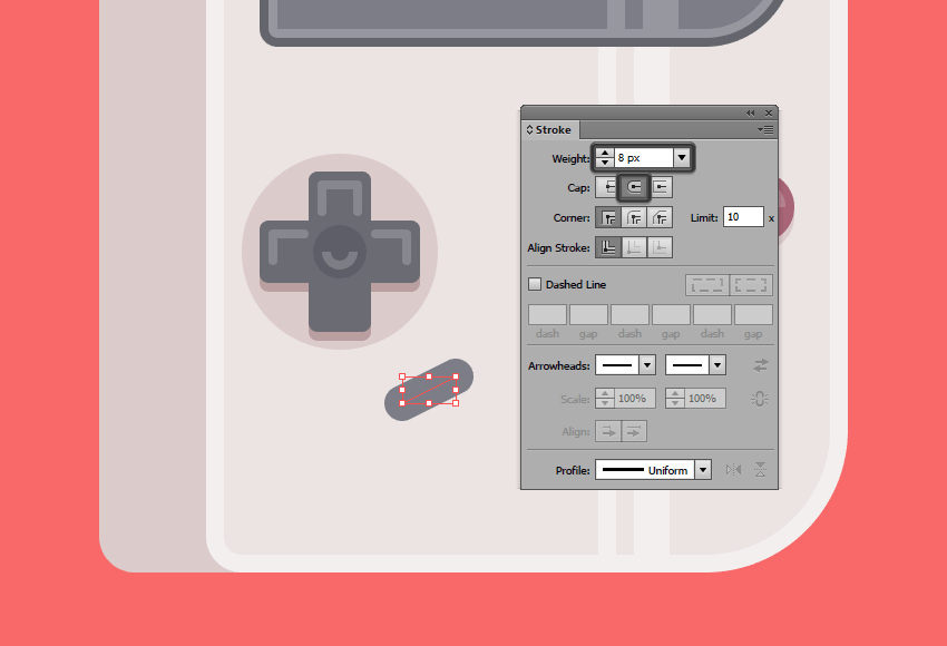 creating the main shape for the select button