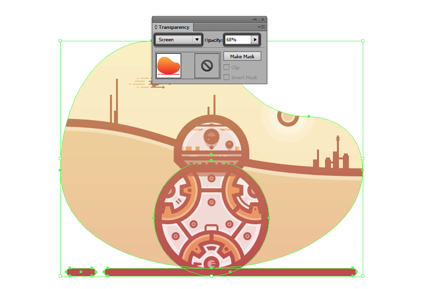 adjusting the blending mode and opacity of the gradient overlay