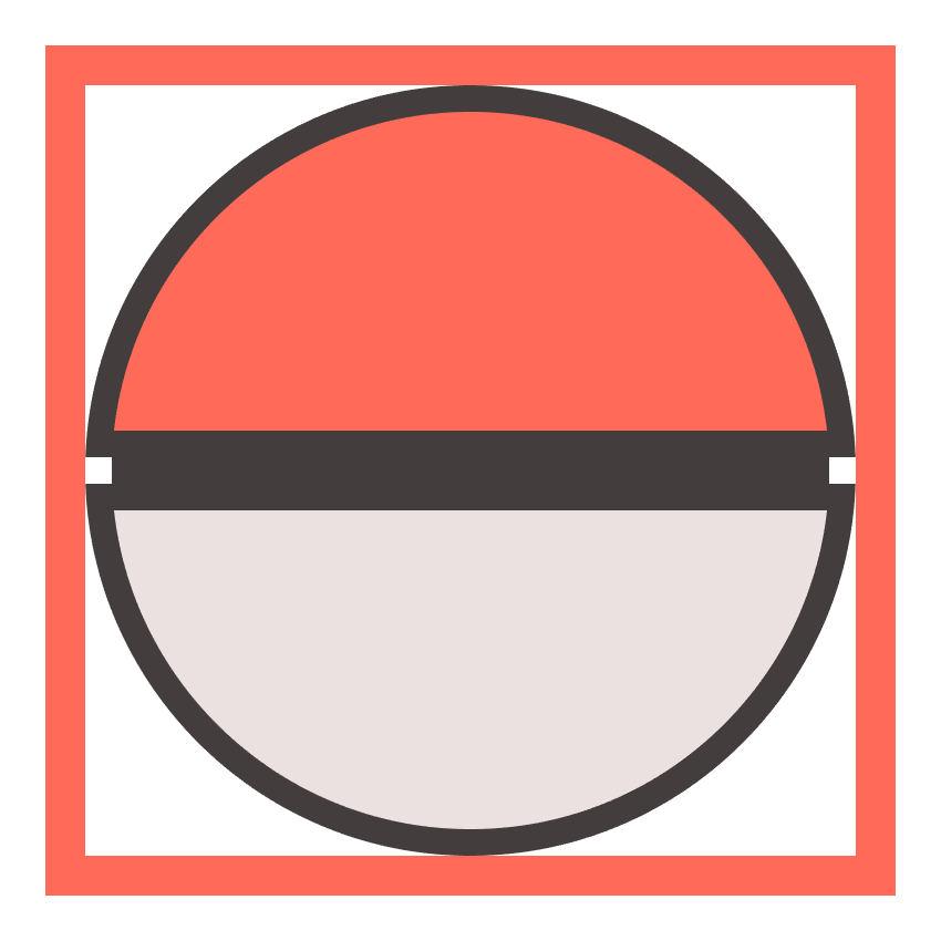 adding the middle section connecting the two halves of the poke ball
