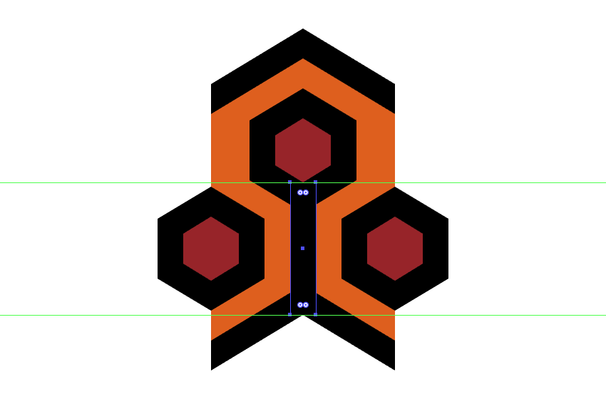 creating and positioning the vertical rectangle onto the repeating elements top hexagon detail