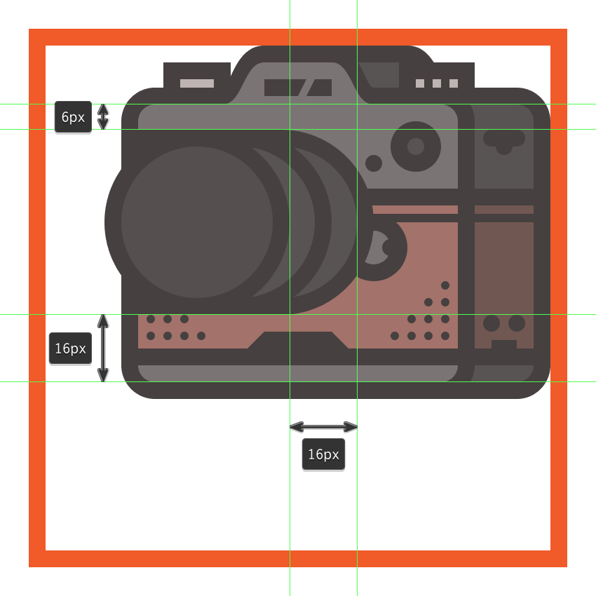 creating and positioning the main shapes for the cameras focus ring