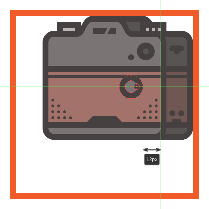 creating and positioning the main shapes for the cameras lens release button