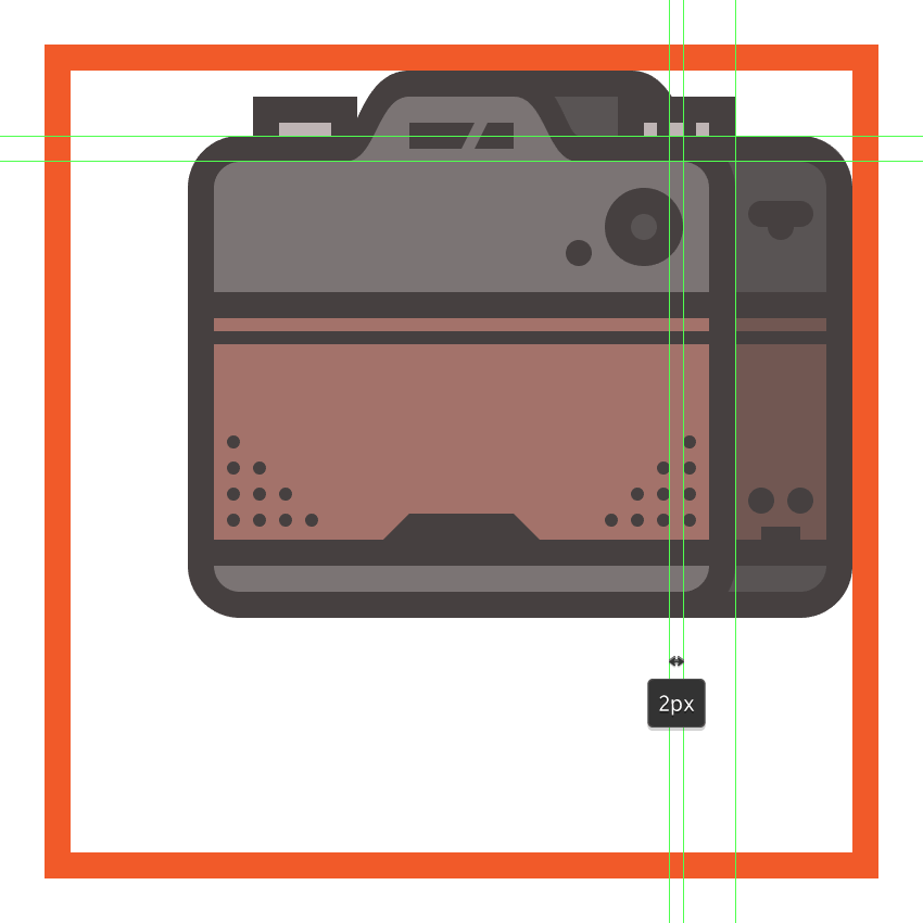 creating and positioning the main shapes for the cameras mode dial