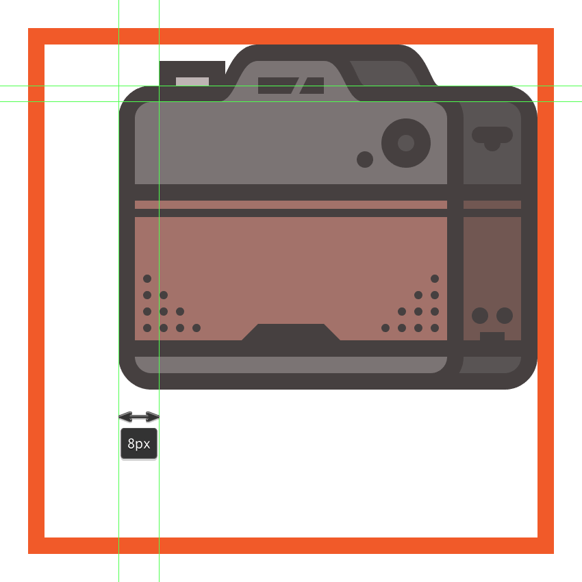 creating and positioning the main shapes for the cameras shutter button