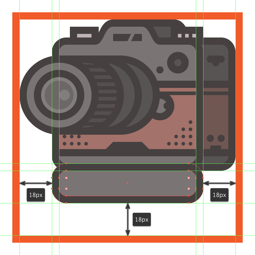 creating and positioning the main shapes for the front section of the cameras add-on grip