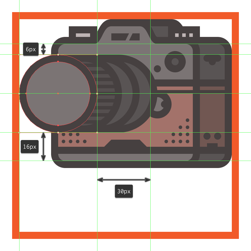 creating and positioning the main shapes for the front section of the cameras lens