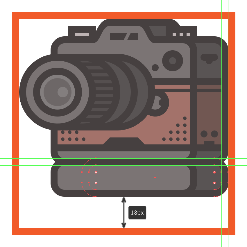creating and positioning the main shapes for the side section of the cameras add-on grip