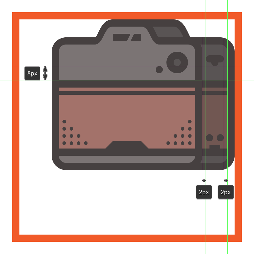 creating and positioning the main shapes for the cameras side strap hinge