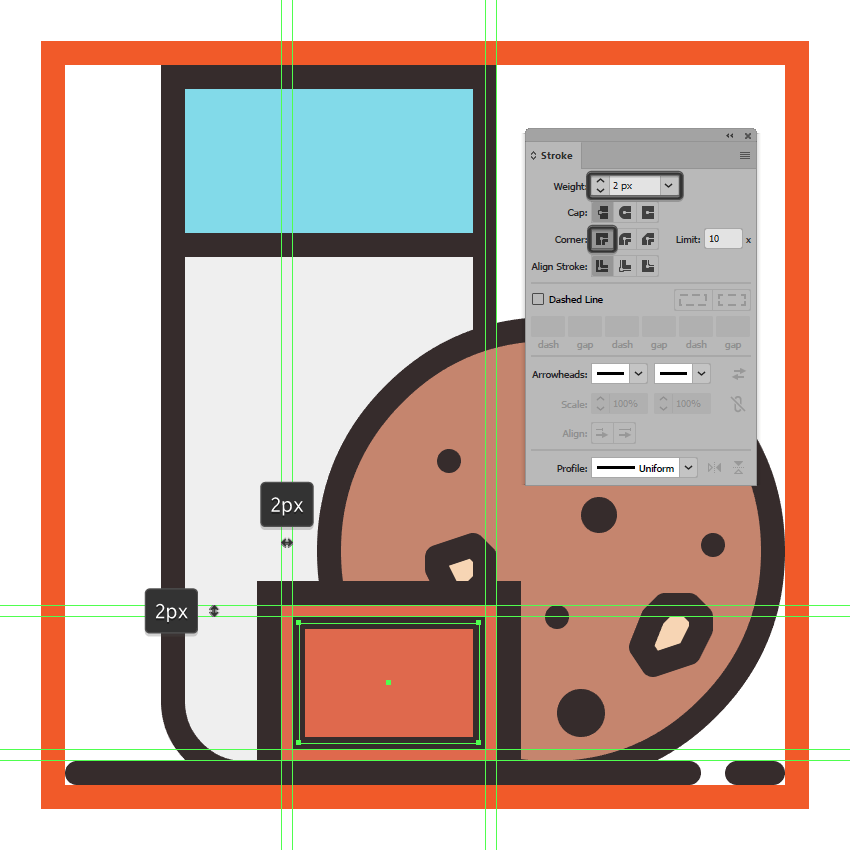 adding the inner detail line insertion to the treats icons thank you card
