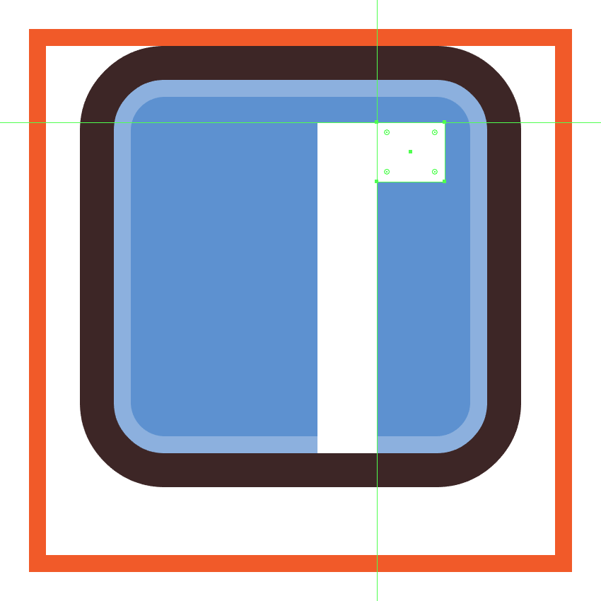 creating and positioning the second composing shape for the facebook icons letter