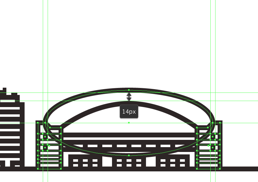 creating and positioning the main shape for the outer section of the domes roof