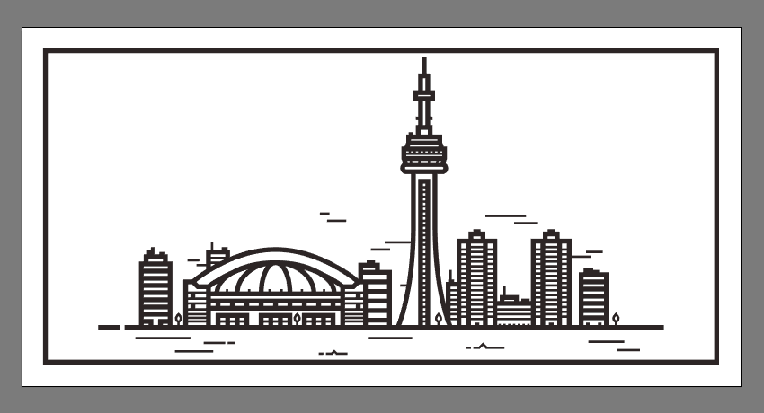 creating and positioning the regular sky lines onto the illustration