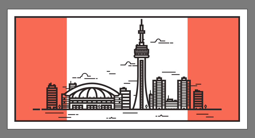 finishing off the illustration by adding the two colored rectangles to its background