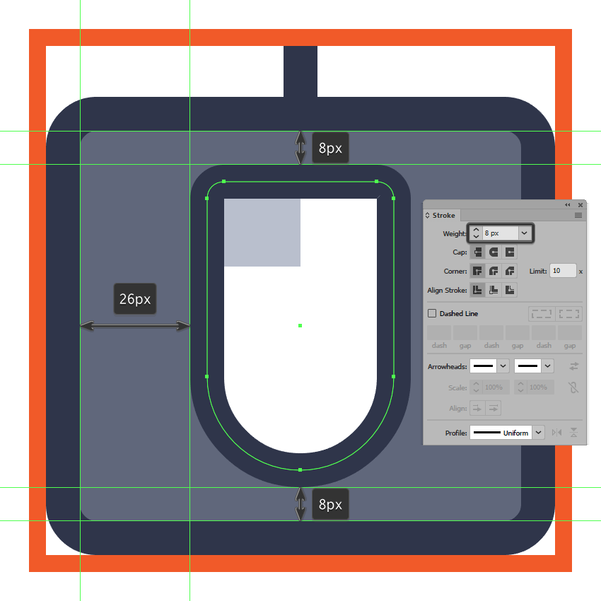 adding the outline to the mouse icons main shape