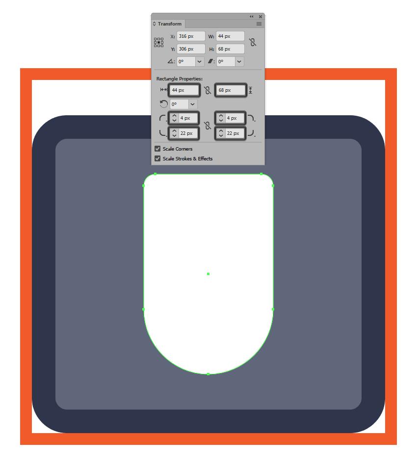 adjusting the corner radius of the mouse icons main shape